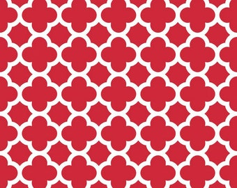Red Quatrefoil Fabric - Red Quatre Foil by Riley Blake Designs - Half Yard - 1/2 Yard