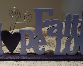 Table Decor LOVE FAITH HOPE_Inspirational Motivational purple lilac_FREE Ship_RECYCLED