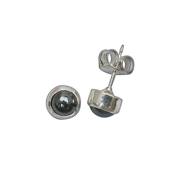 Hematite and Sterling Silver Post Earrings  ehemb2944