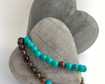 Turquoise and Bronzite couples bracelets, you complete me, his and his, his and hers anniversary gift, love bracelet, boyfriend gift