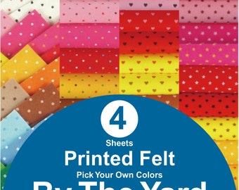 4 YARDS Printed Felt Fabric - pick your own colors (PR1y)