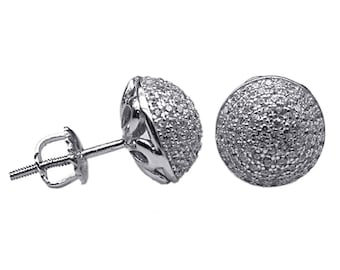 8.4mm Micro Pave Set Cubic Zirconia Half Ball 925 Sterling Silver Rhodium Plated Screw Back Stud Earrings YWA9pHz28