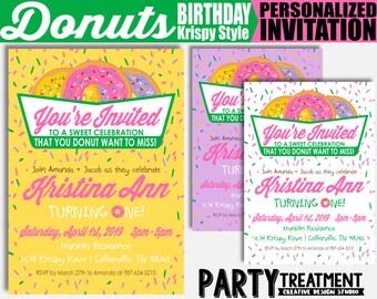 Girly Donut Birthday Invitation, Personalized Donut Birthday Invitation