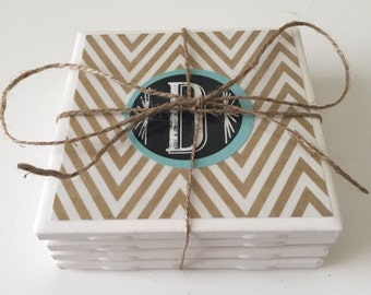Chevron Coasters with Initial