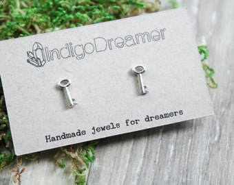 Skeleton Key earrings | Key studs | Silver key earrings | Key jewelry