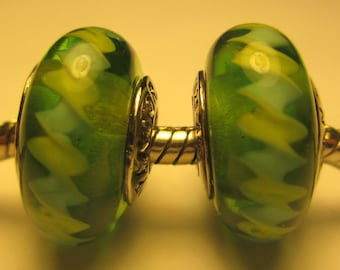 2 Authentic Sterling Silver 925 Ale Pandora Green ZigZag Glass Beads Charms Retired