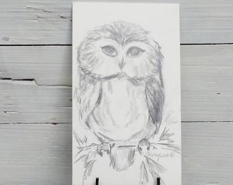 Owl pencil sketch, Owl original sketch, Owl mini art, original art gift, Owl lover gift, Owl collector gift, Saw whet owl original sketch