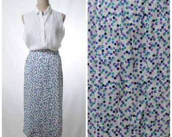Vintage multi-color dots print white pleated pencil midi skirt