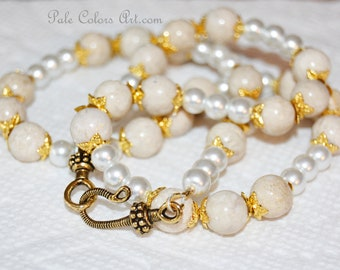 """21"""" Fossil Stone 10mm Bead Necklace,White Pearls Necklace,Cream Fossil Stone Necklace,Brides White Cream Ecru Glass Pearls Necklace,Gold"""