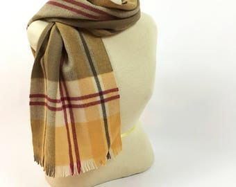 Vintage Tan Plaid Wool Scarf - 1970s Merino Wool Scarf - Made in West Germany - Carson Pirie Scott & Co - Tan + White Plaid - Winter Scarf