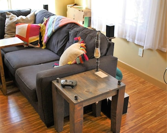 Rustic Side / End Table w/ Pipe Lamp built in / Handmade  / bedside table / sofa table / pipe table / Coffee Table Power outlet USB charger