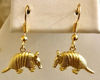 Armadillo Earrings- Gold Plated
