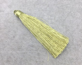 "4"" Wrapped Cap Greenish Gold Silk/Polyester Thread Tassel - Measuring 12mm x 100mm, Approx. - 10+ Colors Available, See Related Items!"