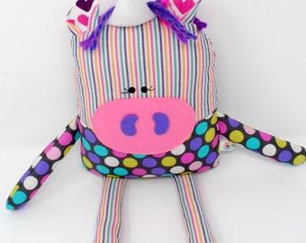 Unicorn-Plush Unicorn-Stuffed Unicorn-Unicorn Doll-Toy Unicorn-Unicorn Softie-Child's Gift-Birthday Gift-Girl Gift-UpCycled-Rainbow-Katrina