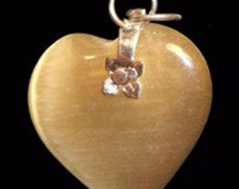 27mm LIGHT SMOKED TOPAZ Cats Eye Fiber Optic Heart Pendant With Silver Bail