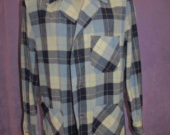 Vintage 50s Wool Plaid 49er Jacke tMen by Hercules Loafing-Mates Sears Blue Cream Rockabilly 30s 40s  Pendleton Wool Free Domestic Shipping