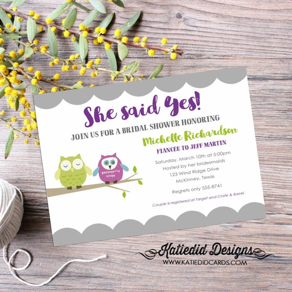 Couples shower Invitation rehearsal dinner owl bridal I do BBQ engagement party bachelorette hen gay stock the bar | 315 katiedid designs