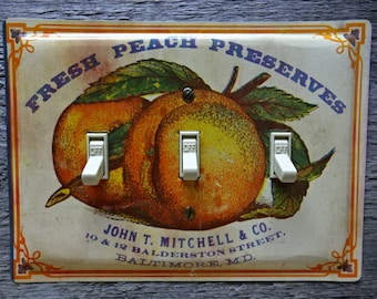 Rustic Kitchen Switch Plates Covers Plate Cover Antique Lighting Made From Vintage Peach Preserves Tin Triple Fruit Decor TP-4061