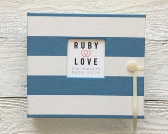 BABY BOOK | Village Blue and White Canopy Stripe Album