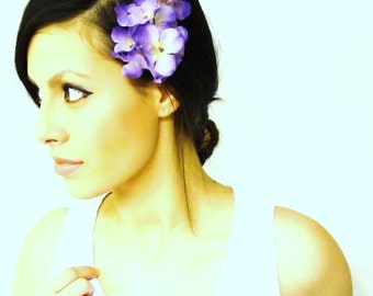 PURPLE Hair Flower, Hair Flower Clip, Purple Hair Accessory, Fascinator