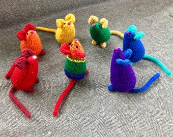Catnip Mice in Rainbow Colors