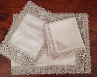 Vintage 9 Piece Set of Ecru Linen & Lace Placemats Napkins and Table Runner