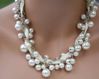chunky pearl necklace with ribbon Off white (ivory)   -bridesmaids jewelry, wedding necklace, brides necklace
