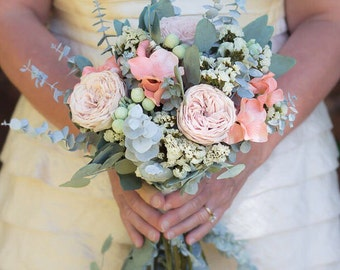 Peach Pastel Wedding Bouquet | The Carolyn Sue Collection