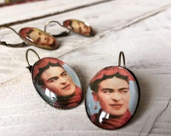 Frida Kahlo Jewelry Earrings Frida Kahlo Dangle Earrings  Gift for Art Teacher Frida Kahlo Jewelry Valentine's Day Gift for Frida Fan