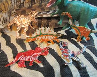 6 Jurassic DINOSAURS Ornaments Set of 6 UpCycled Dinosaurs T Rex, Raptor, Triceratops, BrontoSaurus, StegoSaurus HandMade 4 Dinosaur Lovers