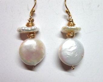 SALE earrings pearls sterling silver gold hoop earrings