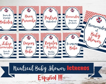 Nautical Baby Shower Printable Sign Set IN SPANISH, DIY Baby Shower Decor for a Nautical Mommy to Be