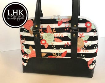 Floral and striped purse handbag shoulder bag handbag