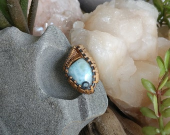 Larimar Mini Pendant  in 14k Gold-Fill & Oxidized Sterling Silver wires