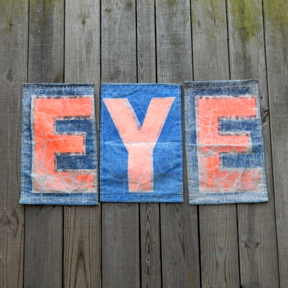 Set of 3 Vintage Canvas Camp Banners EYE