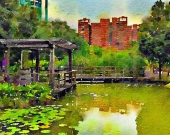 Lake Taiwan Original Watercolor Brush Illustration Painting