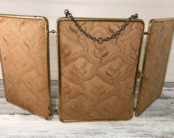 Art Deco Brass Trifold Triptych Damask Mirror Made In France