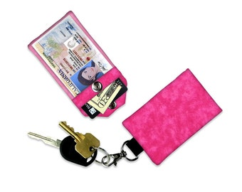 Hot Pink Tonal Mini Wallet Card Holder Keychain Clear ID Holder Small Light Pink Wallet Student ID Badge Credit Card Spray Paint effect