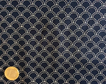 High quality cotton poplin, navy/white Japanese geometrical print