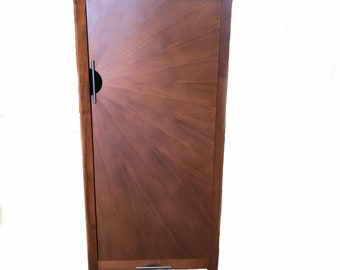 Teak Jewelry Armoire - Jewelry Storage Cabinet - Collectibles Organizer Mirror - Jewelry Tower Box - Valuables Chest - Modern Teak Furniture