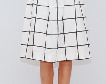 Grid print skirt/ hand painted skirt/ Black and White midi skirt / Black skirt /High waist skirt