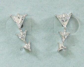 Sterling Silver Triple Triangle Stud Earring