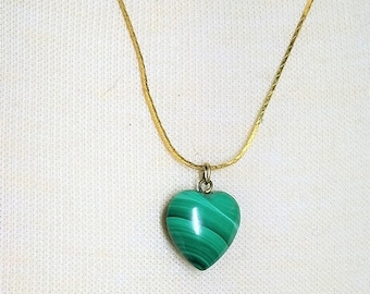 25% OFF SALE Malachite Small Heart Pendant Necklace on Gold Tone Chain Vintage