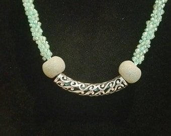 0201-Mint green and silver kumihimo Necklace