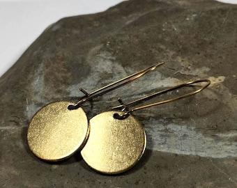 Raw Brass  Dangle Earrings Disc or Teardrop