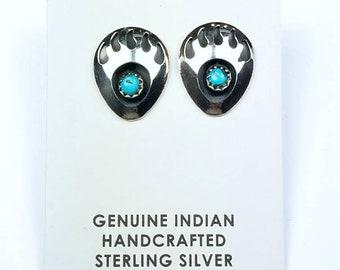 Native American Navajo handmade Sterling Silver Turquoise stone stud earrings