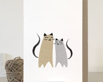 Cat card with two cats, cat love card, anniverary card, cat wrapping papers, cat stationery, cat illustration, friendship card, besties