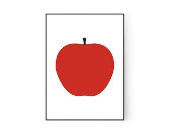Red apple print, colorful fruit Print, minimalist kitchen wall art, minimalist food print, nursery poster, scandinavian kitchen home decor