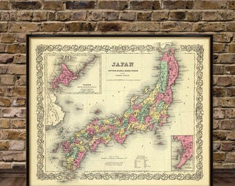 Japan map - Old map of Japan archival print