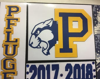 Pflugerville high school, panther, colorguard, scrapbook page, handmade